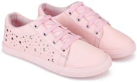Women Solid Sneakers ( Pink )