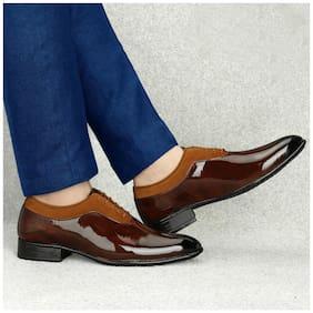 T R Men Tan Derby Formal Shoes - DU-1501-TAN-6