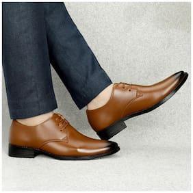 T R Men Tan Derby Formal Shoes - DU-1503-TAN-8
