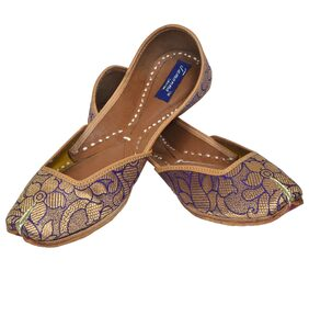 Tamanna handicraft ptiyala designer printed blue leather  juti