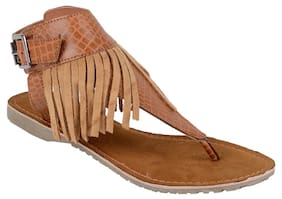 TAN LEATHER FLAT SANDALS BY BERRY PURPLE