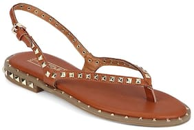 Truffle Collection Tan PU Studded Strap Slip-On Flats