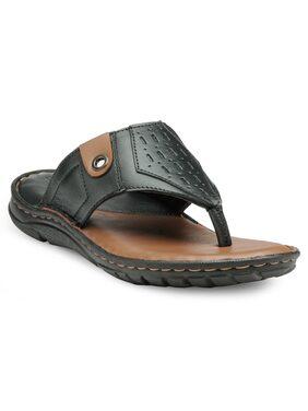 Teakwood Leathers Men Black Outdoor Slippers