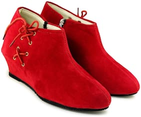 TEQTO Women Red Ankle Length Boots