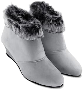 TEQTO Women Grey Ankle Length Boots