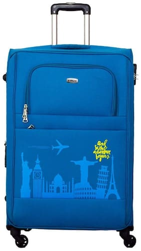 Timus Salsa Ocean Blue Check In 75 Cm 4 Wheel Strolley Suitcase For Travel