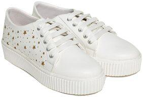 TRENDY LOOK Women White Sneakers