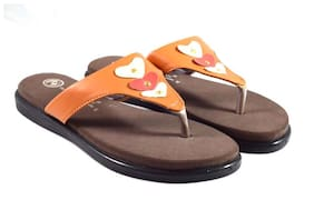 Trilokani Womens Orange Slipper