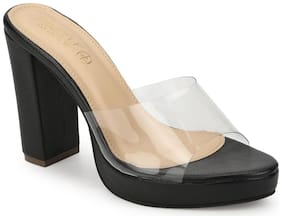 Truffle Collection Black Perspex PU Block Heel Mules