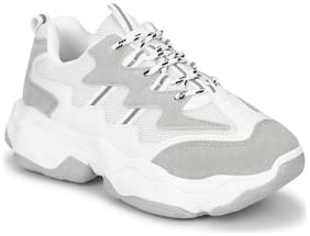 Truffle Collection White-Grey Mesh PU Lace-Up Chunky Sneakers
