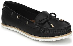 Truffle Collection Black PU Flat Belly Shoes