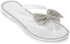 Truffle Collection White PVC Diamante Bow Slip On Flats