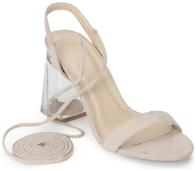 Truffle Collection Nude Micro Perspex Block Heel Lace Up Sandals