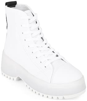 Truffle Collection White Canvas Lace Up Ankle Shoes