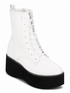 Truffle Collection White Lace-up Ankle Boots For Women
