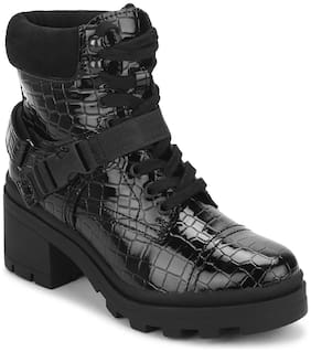 Truffle Collection Black Croc Patent Buckle Belt Lace-Up Block Heel Ankle Boots For Women
