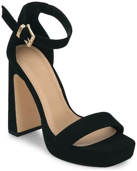 Truffle Collection Black Block Heel Buckled Sandals