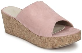 Truffle Collection Nude Pink Micro Slip On Wedges
