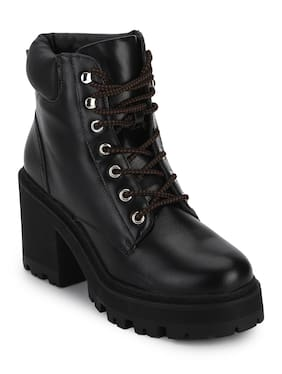 Truffle Collection Black Synthetic Cleated Bottom Lace-Up Block Heel Ankle Boots