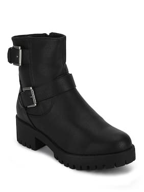 Truffle Collection Black Synthetic Double Buckle Low Heel Ankle Boots