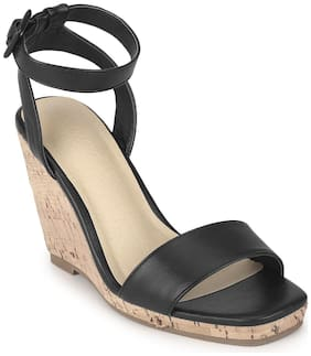 Truffle Collection Black PU Wedge Heel Sandals