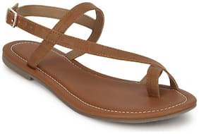 Truffle Collection Tan Ankle Strap Croc PU Flat Sandals