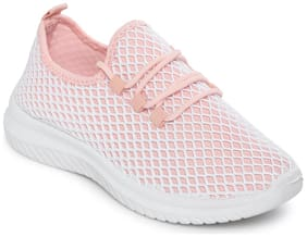 Truffle Collection Pink Mesh Slip-On Casual Shoes