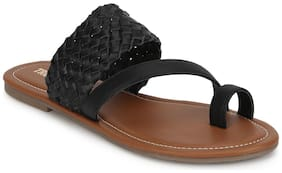 Truffle Collection Black PU Flat Slip On Sandals