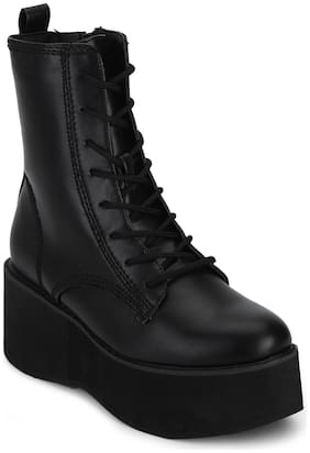 Truffle Collection Black Flatform Lace-up Ankle Boots