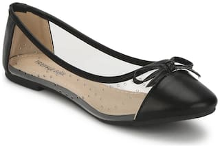 Truffle Collection Black PU Perspex Belly Flats