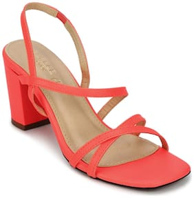 Truffle Collection Red PU Crossover Strap Block Heel Sandals