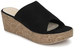 Truffle Collection Black Micro Slip On Wedges