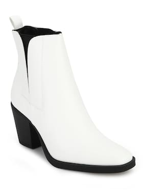 Truffle Collection White Synthetic Low Block Heel Ankle Boots