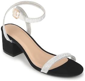 Truffle Collection Black Micro Diamante Low Block Heels