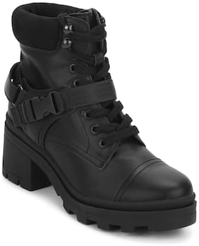 Truffle Collection Black Buckle Belt Lace-Up Block Heel Ankle Boots For Women