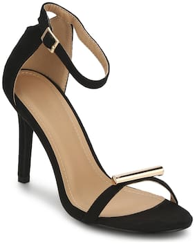 Truffle Collection Black Micro Golden Lining Barely There Stiletto Heels