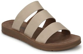 Truffle Collection Nude PU Strappy Slip On Flats