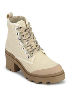 Truffle Collection Beige Synthetic Lace-up Block Heel Ankle Boots