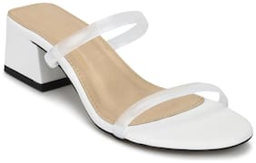 Truffle Collection White PU Slip On Low Heel Mules