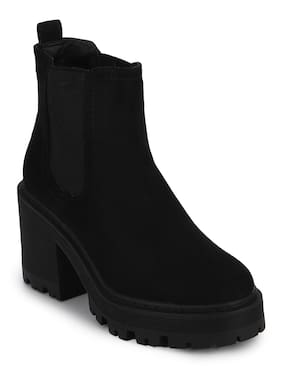 Truffle Collection Black Micro Cleated Platform Low Block Heel Ankle Boots