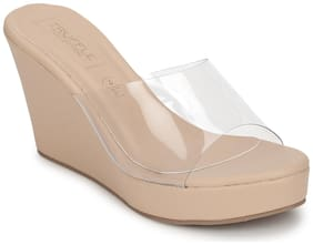 Truffle Collection Nude Clear Strap Peep Toe Slip On Wedges