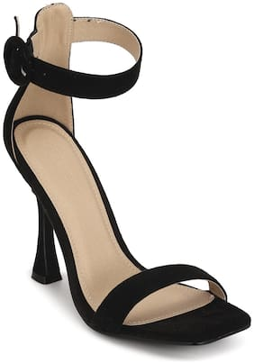 Truffle Collection Black Micro Buckled High Heel Sandals
