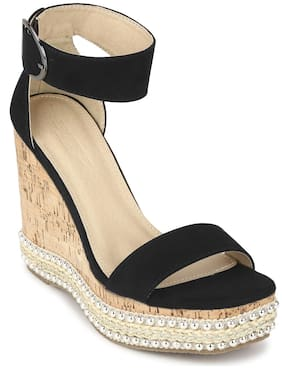 Truffle Collection Black Micro Embellished Wedges