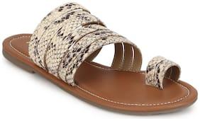 Truffle Collection Beige PU Flat Slip On Sandals