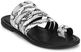 Truffle Collection Black PU Flat Slip On Sandals
