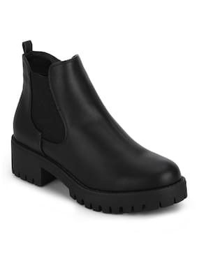 Truffle Collection Black Synthetic Elasticated Low Block Heel Ankle Boots