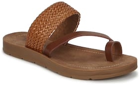 Truffle Collection Tan PU Flat Slip Ons