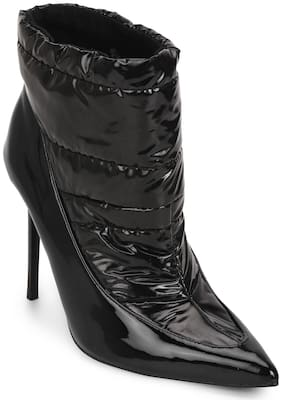 Truffle Collection Black Patent Quilt Ankle Length Boots