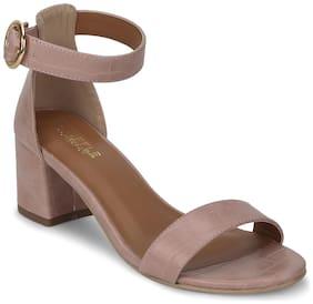 Truffle Collection Beige PU Low Heel Sandals