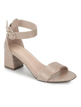 Truffle Collection Beige PU Sandals With Ankle Strap